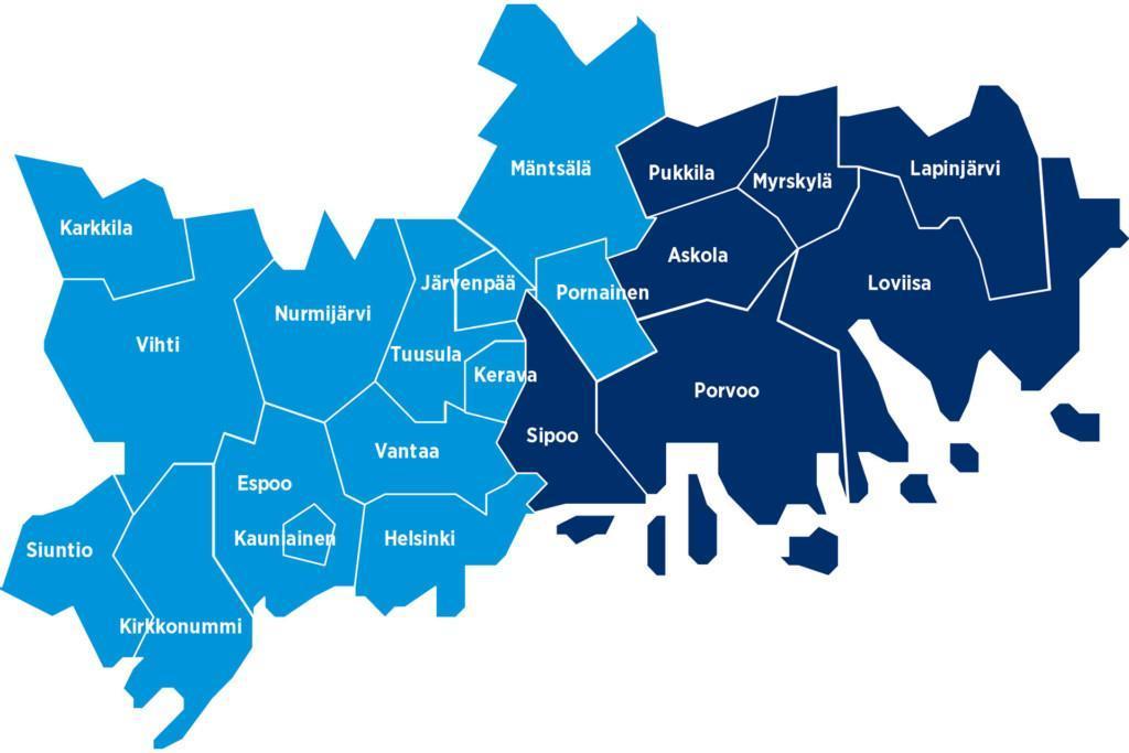 Itä-Uudenmaan aluekartta.
